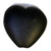Glass Pressed Beads 10x10mm Heart Black Matt